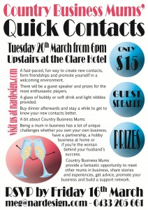 NAR Design presents Quick Contacts at the Clare Hotel on the 20th March 2012