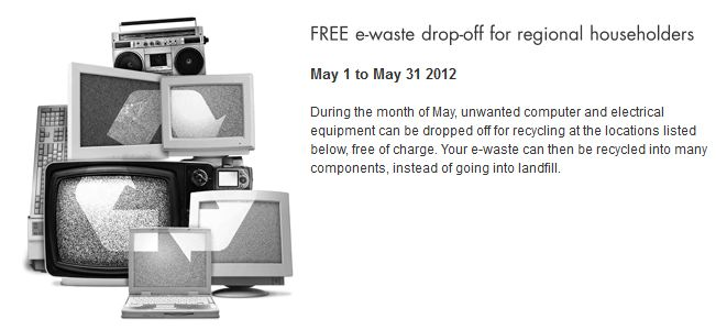 Free e-waste drop off in Clare 1-31 May 2012