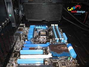 ASUS P8Z77-V Pro mother board with Corsair H100 Extreme Performance Liquid CPU Cooler radiator