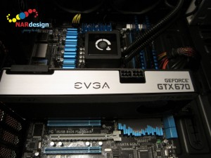 EVGA GeForce GTX670 in place and ready for power