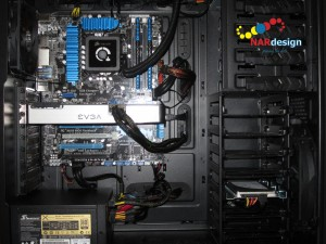 Gaming build components installed in the BitFenix Shinobi Window XL