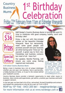 NAR Design Country Business Mums 1st Birthday Flyer
