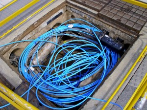 Fibre-optic cable in a Telstra pit